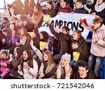 fans cheering in stadium... | Shutterstock . vector #721542046