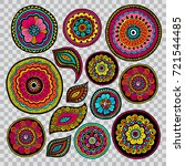 set of zentangle elements for... | Shutterstock .eps vector #721544485