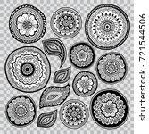 set of zentangle elements for... | Shutterstock .eps vector #721544506