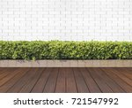wood floor with plant and white ... | Shutterstock . vector #721547992