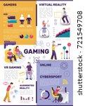 gamers people flat infographics ... | Shutterstock .eps vector #721549708