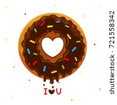 cartoon donut with heart ... | Shutterstock .eps vector #721558342