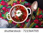 ukrainian traditional borsch.... | Shutterstock . vector #721564705