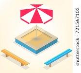 sandbox with a set of wooden... | Shutterstock .eps vector #721567102