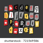 colorful newspaper alphabet.... | Shutterstock .eps vector #721569586
