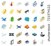 fly icons set. isometric style... | Shutterstock .eps vector #721574122