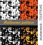halloween patterns set. vector...   Shutterstock .eps vector #721575142