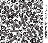 background pattern with tires... | Shutterstock .eps vector #721579312
