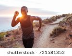 focused young man running alone ...   Shutterstock . vector #721581352