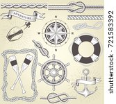 vintage seafaring elements  ... | Shutterstock .eps vector #721583392
