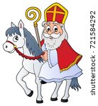 sinterklaas on horse theme... | Shutterstock .eps vector #721584292