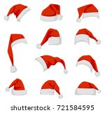 set of red santa claus hats....   Shutterstock .eps vector #721584595