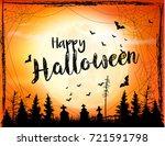 halloween spooky background.... | Shutterstock .eps vector #721591798