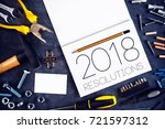 2018  new year resolutions... | Shutterstock . vector #721597312