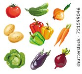 vegetable set cartoon hand... | Shutterstock . vector #721599046