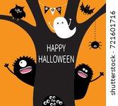 ghost  hanging spider web ...   Shutterstock . vector #721601716