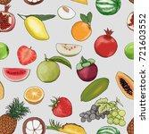 vector seamless fruit painting... | Shutterstock .eps vector #721603552