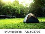camping in the park. wet tent... | Shutterstock . vector #721603708
