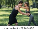 side view of caucasian man and... | Shutterstock . vector #721604956