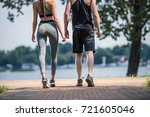 back view of couple in... | Shutterstock . vector #721605046