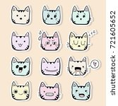 Funny Cat Faces Sticker...