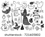hand drawn cute halloween... | Shutterstock .eps vector #721605802
