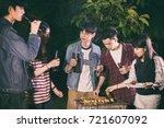 asian group of friends having... | Shutterstock . vector #721607092