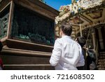 man who see the gutenberg... | Shutterstock . vector #721608502