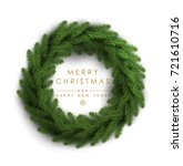 christmas wreath made of... | Shutterstock .eps vector #721610716