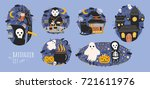 collection of halloween scenes... | Shutterstock .eps vector #721611976
