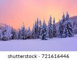 marvelous winter sunrise high...   Shutterstock . vector #721616446