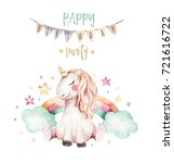 isolated cute watercolor... | Shutterstock . vector #721616722