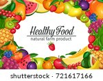 poster template with fruits and ... | Shutterstock .eps vector #721617166