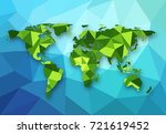 vector polygonal world map. low ... | Shutterstock .eps vector #721619452