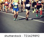 marathon running race | Shutterstock . vector #721629892