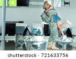 wife meeting husband in... | Shutterstock . vector #721633756