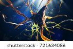 3d illustration of neural cell. ... | Shutterstock . vector #721634086