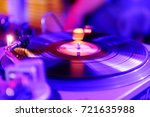 a vinyl record on the panel of... | Shutterstock . vector #721635988
