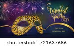 carnival mask with shiny... | Shutterstock .eps vector #721637686