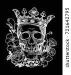 beautiful romantic skull with... | Shutterstock .eps vector #721642795