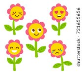 funny flower with smiley face... | Shutterstock .eps vector #721655656