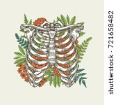 floral vintage rib cage... | Shutterstock .eps vector #721658482