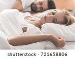calm married couple slumbering... | Shutterstock . vector #721658806