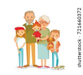 grandparents with grandchildren | Shutterstock .eps vector #721660372