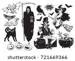 Big Set Of Halloween Cartoon...