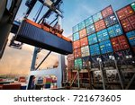 container loading in a cargo... | Shutterstock . vector #721673605