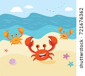 happy crabs at the seashore | Shutterstock .eps vector #721676362
