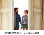 couple moving in new house ... | Shutterstock . vector #721688305