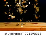 falling gold coins money on... | Shutterstock . vector #721690318
