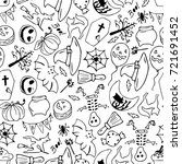 set of halloween illustration... | Shutterstock . vector #721691452